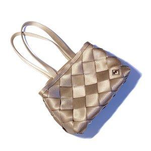 ✨🧺Maggie Bags tan taupe seatbelt handbag